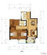 金都夏宫3室2厅1卫90平方米户型图