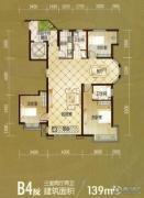 建投御河新城3室2厅2卫139平方米户型图