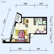 华府新天地1室1厅1卫58平方米户型图