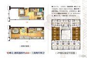蓝波湾3室2厅2卫44平方米户型图