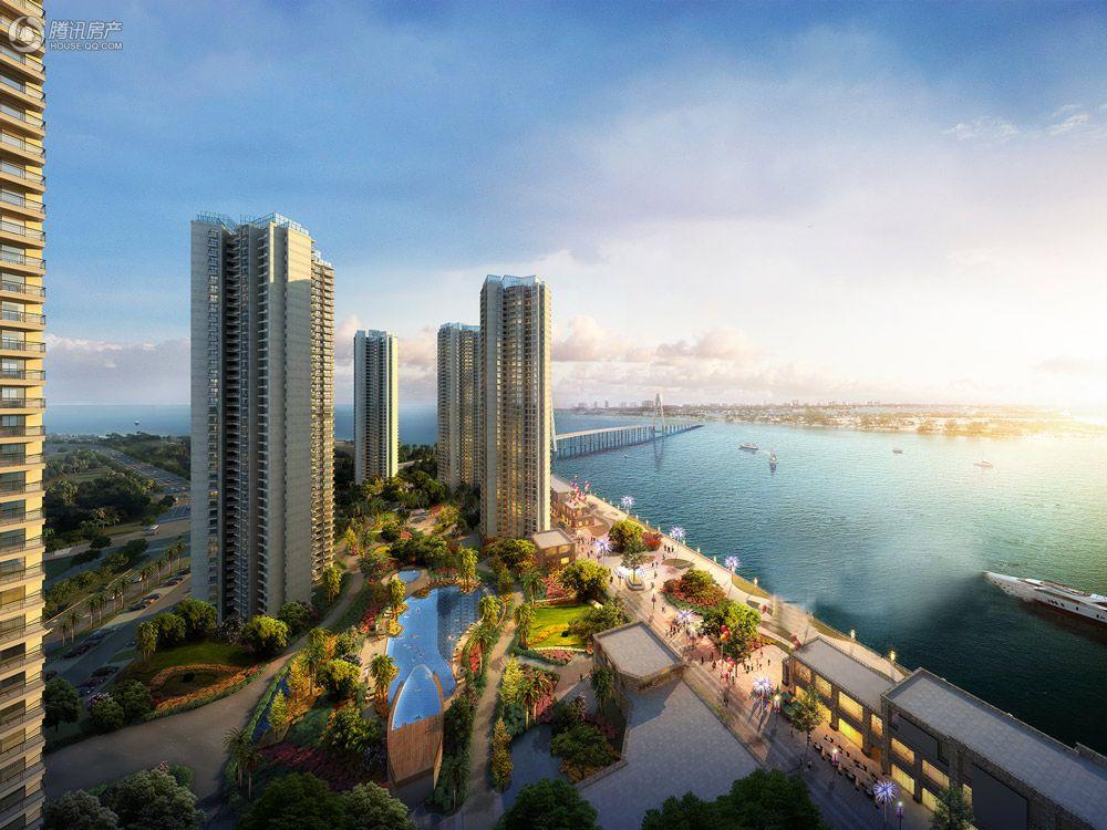 海口恒大外滩住宅公寓半鸟瞰效果图