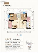 大川滨水城2室2厅0卫67平方米户型图