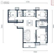 万科高新华府3室2厅2卫129平方米户型图