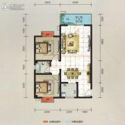 万华汽车城2室2厅1卫80平方米户型图