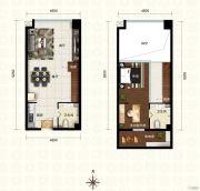 新都汇・二期1室2厅1卫62平方米户型图