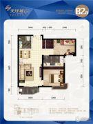 天洋城4代2室2厅1卫87平方米户型图