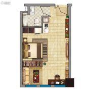 金龙湖广场1室1厅1卫49平方米户型图