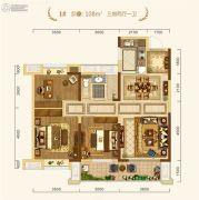 中建・宜昌之星3室2厅1卫108平方米户型图