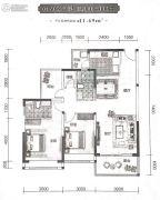 东旭千江月2室2厅2卫106--111平方米户型图