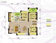 九曲御景3室2厅1卫90平方米户型图
