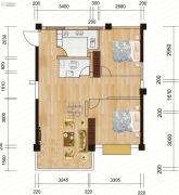 麓山枫情2室2厅1卫69平方米户型图