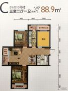 建荣・皇家海岸3室2厅1卫88平方米户型图