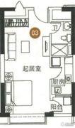 海陵岛恒大御景湾1室0厅1卫49平方米户型图