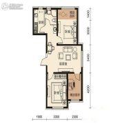 梦想天成2室2厅1卫81平方米户型图