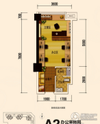 恒邦・时代青江二期1室1厅1卫37平方米户型图