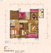 �|方米兰国际城4室2厅2卫138平方米户型图