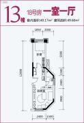 盛唐叠彩山1室1厅1卫0平方米户型图