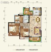 希望・玫瑰园3室2厅1卫88平方米户型图