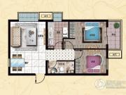 行宫・御东园2室2厅1卫80平方米户型图