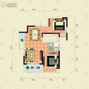 千禧城2室2厅1卫83平方米户型图