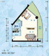 海悦长滩1室1厅1卫90平方米户型图