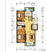 冠城国际2室2厅2卫105平方米户型图