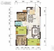 华侨假日中心3室2厅1卫91平方米户型图