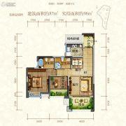 东江首府1室2厅1卫87平方米户型图