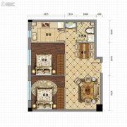 金沙星城2室2厅1卫76平方米户型图