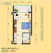 明汇苑1室1厅1卫39平方米户型图