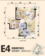 恒邦・时代青江二期2室2厅1卫60平方米户型图