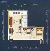 丽原天际2室2厅1卫90平方米户型图