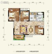 希望・玫瑰园3室2厅1卫74平方米户型图