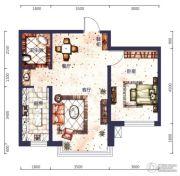 城市之星1室2厅1卫0平方米户型图