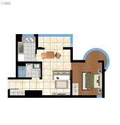 香庭海岸1室2厅1卫64平方米户型图