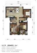 东湖方舟3室2厅1卫98平方米户型图