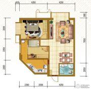 仁恒国际领寓2室2厅1卫96平方米户型图