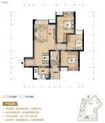置地城3室2厅1卫81平方米户型图