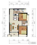 华强城市广场2室2厅1卫75平方米户型图