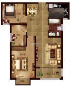 帕堤欧2室2厅1卫93平方米户型图