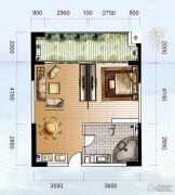 龙光阳光海岸1室2厅1卫75平方米户型图