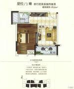 柏丽星寓1室1厅1卫56平方米户型图