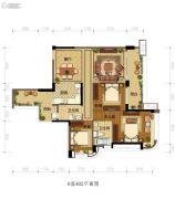 雅居乐新城湾畔3室2厅2卫134平方米户型图