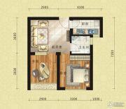 东方今典中央城2室1厅1卫57平方米户型图