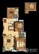 昆山万达广场3室2厅1卫97平方米户型图