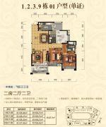 顺江・帝景城Ⅱ期.帝�o2室2厅2卫127--128平方米户型图