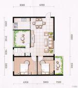 东方国际园2室2厅1卫85平方米户型图