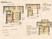 绿墅湾3室2厅2卫142--145平方米户型图
