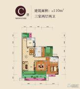 龙湾国际3室2厅2卫110平方米户型图