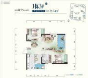 世康世纪城2室2厅2卫85平方米户型图